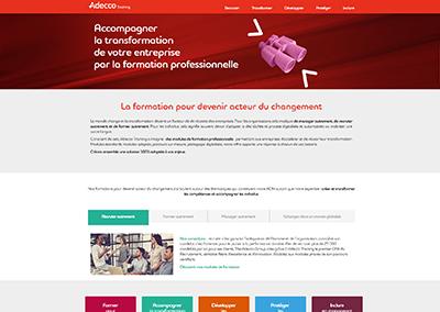 Intégration du site web Adecco Training